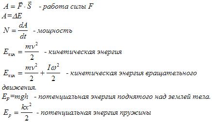 Механика формулы по физике
